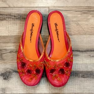 Beverly Feldman Mesh Floral Mules/Flats